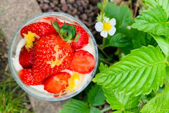 Lemon Curd Creme mit marinierten Gewürz – Erdbeeren
